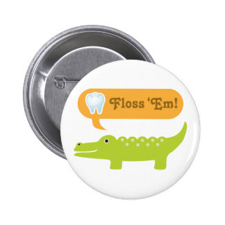 Cute Alligator Floss Dental Hygiene 6 Cm Round Badge