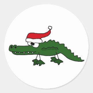 Cute Alligator Wearing Christmas Hat Classic Round Sticker