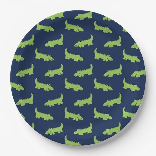Cute Alligators Pattern Birthday Paper Plate
