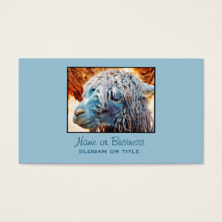 Cute Alpaca Baby in Blue Business Card