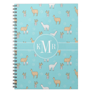 Cute Alpaca Llama Cactus Pattern Notebook