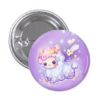 Cute alpaca with kawaii shooting star 3 cm round badge