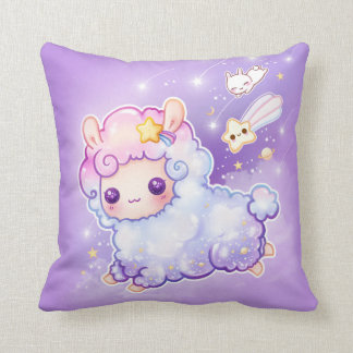 Cute alpaca with kawaii shooting star throw pillow