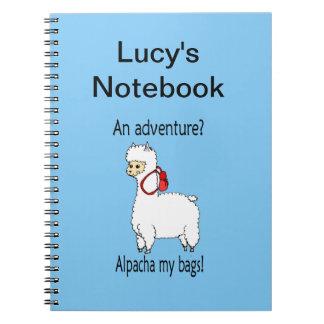 Cute alpacha adventure pun notebook