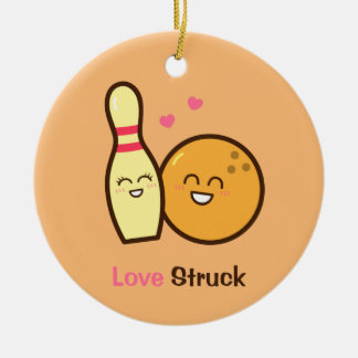 Cute Amusing Bowling Ball and Pin Love Struck Christmas Ornament