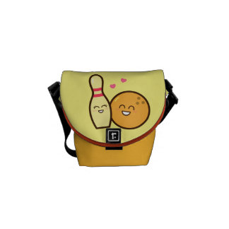 Cute Amusing Bowling Ball and Pin Love Struck Courier Bag