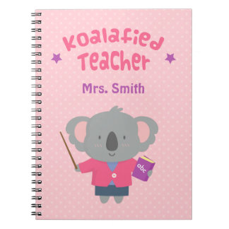 Cute Amusing Pun Koala Bear Teacher Spiral Notebook