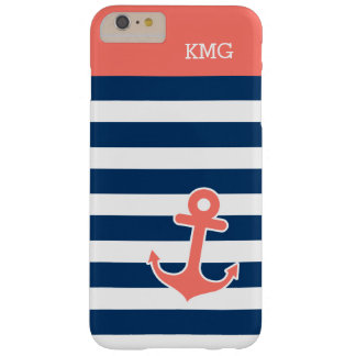 Cute Anchor Monograms in Trendy Coral Navy Strips Barely There iPhone 6 Plus Case
