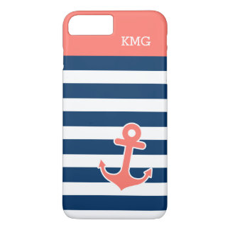 Cute Anchor Monograms in Trendy Coral Navy Strips iPhone 8 Plus/7 Plus Case