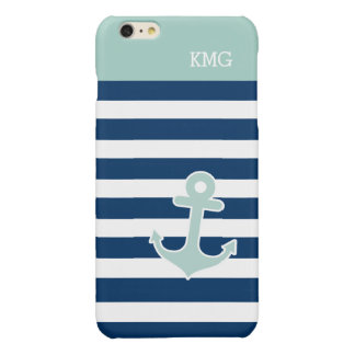 Cute Anchor Monograms in Trendy Mint Navy Stripes iPhone 6 Plus Case