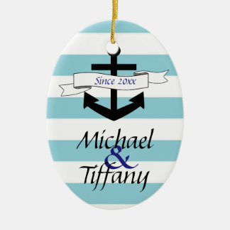 Cute Anchor Nautical Couples Christmas Ornament