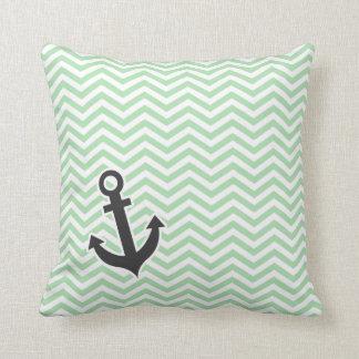 Cute Anchor on Retro Celadon Chevron; zig zag Cushions