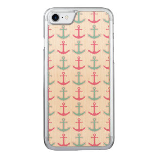 Cute Anchor Pattern Pink and Aqua Carved iPhone 8/7 Case