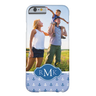 Cute Anchor Pattern| Your Photo & Monogram Barely There iPhone 6 Case
