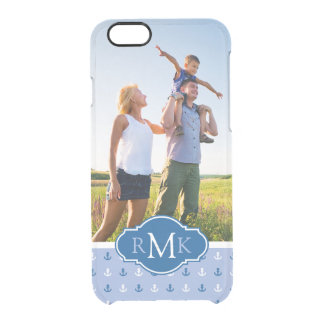 Cute Anchor Pattern| Your Photo & Monogram Clear iPhone 6/6S Case
