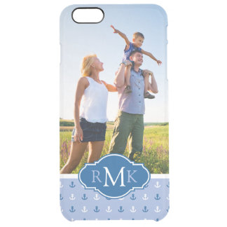 Cute Anchor Pattern| Your Photo & Monogram Clear iPhone 6 Plus Case