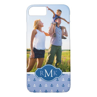 Cute Anchor Pattern| Your Photo & Monogram iPhone 8/7 Case