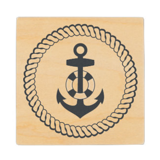 Cute Anchor Wood Coaster