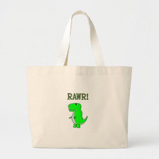 Cute and Angry T-Rex RAWR Large Tote Bag