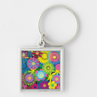 Cute and Brightly Colored Floral Keychain Keychains