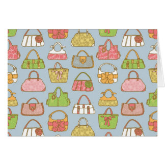 Cute and Colorful Bags Illustration Pattern (Blue) Card