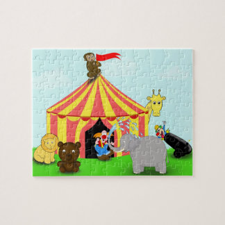 Cute and Colorful Circus Animals Cartoon Puzzle