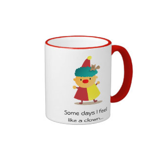 Cute and Colorful Clown with squirrel in hair Ringer Coffee Mug