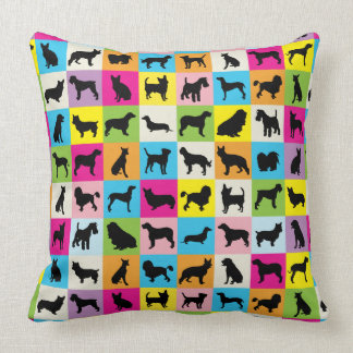 Cute and Colorful Dog Silhouettes Patchwork Cushion