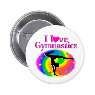 CUTE AND COLORFUL I LOVE GYMNASTICS DESIGN 6 CM ROUND BADGE