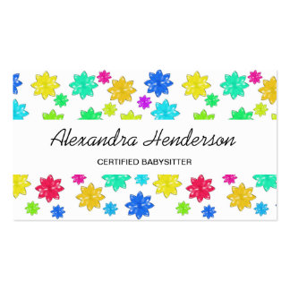 Cute and Colorful Stars Babysitter Child Care Pack Of Standard Business Cards