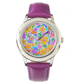 Cute and Colorful Yellow and Purple Floral Wrist Watch
