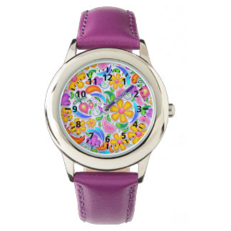 Cute and Colorful Yellow and Purple Floral Wrist Watches