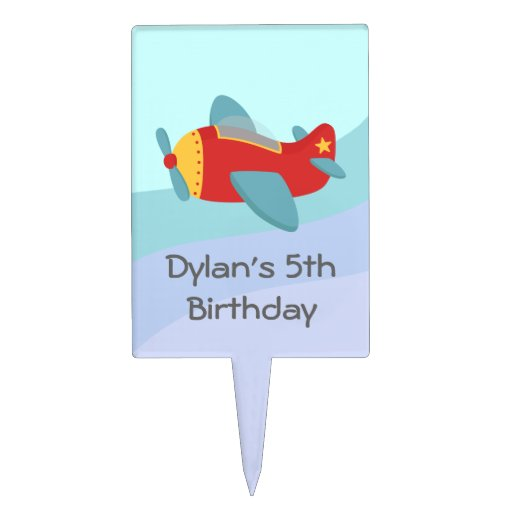 Cute and Colourful Aeroplane, Birthday Boy Cake Topper