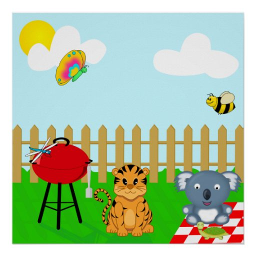 Cute and Colourful Back Yard BBQ Cartoon Animals Poster