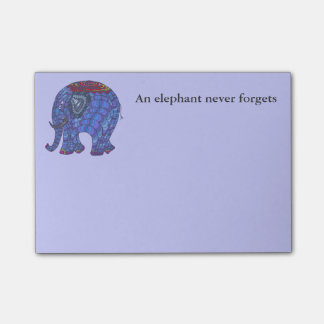Cute and colourful blue doodle elephant on blue post-it notes