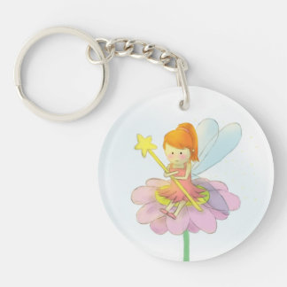 Cute and Colourful Fairy Double-Sided Round Acrylic Key Ring