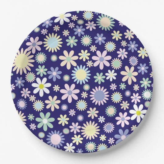 Cute and colourful flower blossoms on paper plates