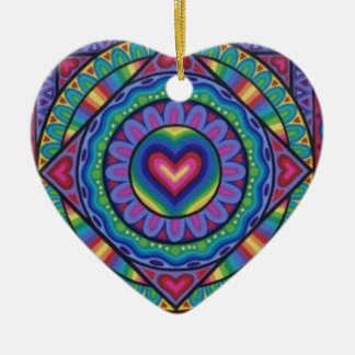 Cute and colourful heart decoration by Soozie Wray Ornaments