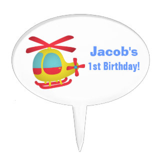Cute and Colourful Helicopter for Kids Cake Pick