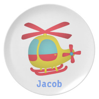 Cute and Colourful Helicopter for Kids Dinner Plate