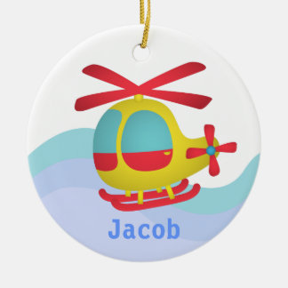 Cute and Colourful Helicopter for Kids Round Ceramic Decoration