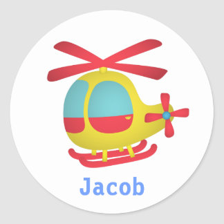 Cute and Colourful Helicopter for Kids Round Sticker