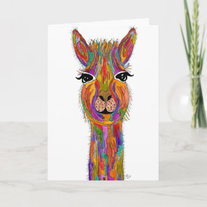 Cute and Colourful Llama Greeting Card