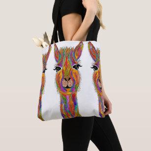 Cute and Colourful Llama Tote Bag
