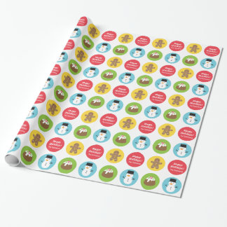 Cute and Colourful Merry Christmas Pattern Gift Wrapping Paper