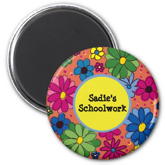 Cute and Colourful Orange Floral School Art Magnet