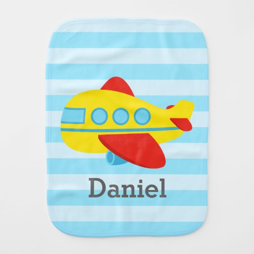 Cute and Colourful Passenger Aeroplane, baby boy Baby Burp Cloths