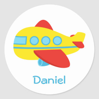 Cute and Colourful Passenger Aeroplane Round Sticker