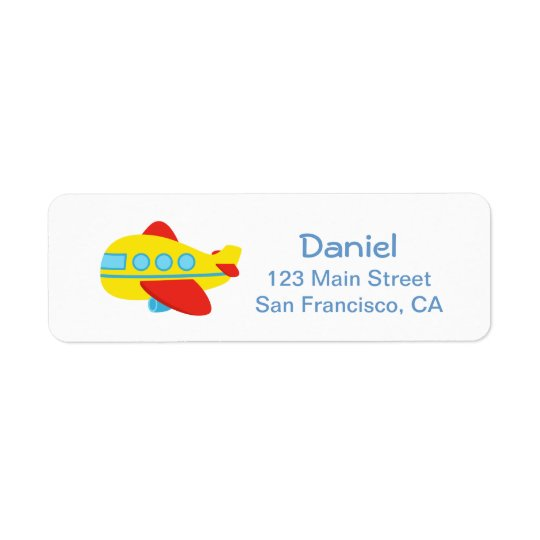 Cute and Colourful Passenger Plane for Parties Return Address Label