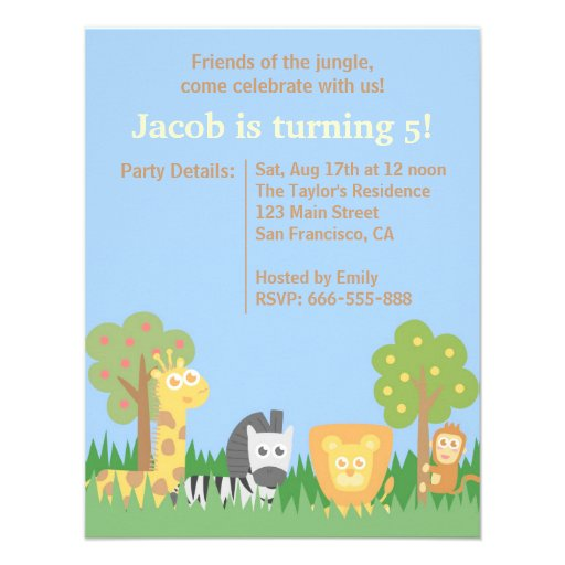 Cute and Colourful Safari Animals Birthday Party Announcement